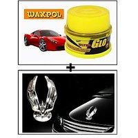 Vheelocity Waxpol Ultra Glo Polish With Uv Guard 100Gms + Chrome Eagle Emblem Logo For Car Modification