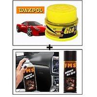 Vheelocity Waxpol Ultra Glo Polish With Uv Guard 100Gms + Fms Car Dashboard Wax Spray 450Ml