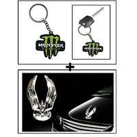Vheelocity Rubber Monster 'M' Keychain/Keyring For Bike/Car + Chrome Eagle Emblem Logo For Car Modification