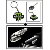 Vheelocity Rubber Monster 'M' Keychain/Keyring For Bike/Car + Chrome Wing Emblem Logo For Car Modification