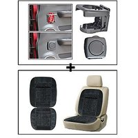 Vheelocity Foldable Car Drink / Can / Glass / Bottle Holder - Grey + Car Wooden Bead Seat Cushion With Grey Velvet Border