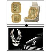 Vheelocity Car Wooden Bead Seat Cushion With Beige Velvet Border + Chrome Eagle Emblem Logo For Car Modification