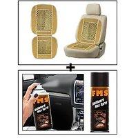 Vheelocity Car Wooden Bead Seat Cushion With Beige Velvet Border + Fms Car Dashboard Wax Spray 450Ml