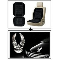 Vheelocity Car Wooden Bead Seat Cushion With Black Velvet Border + Chrome Eagle Emblem Logo For Car Modification