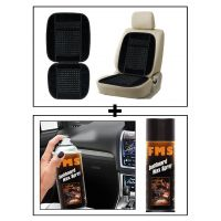 Vheelocity Car Wooden Bead Seat Cushion With Black Velvet Border + Fms Car Dashboard Wax Spray 450Ml