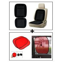 Vheelocity Car Wooden Bead Seat Cushion With Black Velvet Border + Car Side Window Sunshades Stick On Sun Shade - Set Of 2 Pcs (Red)