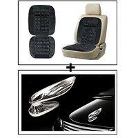 Vheelocity Car Wooden Bead Seat Cushion With Grey Velvet Border + Chrome Wing Emblem Logo For Car Modification