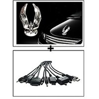 Vheelocity Chrome Eagle Emblem Logo For Car Modification + Titoni 11 In 1 Universal Car Mobile Charger