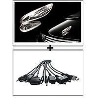 Vheelocity Chrome Wing Emblem Logo For Car Modification + Titoni 11 In 1 Universal Car Mobile Charger