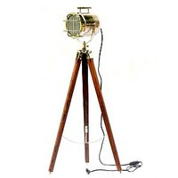 Vintage Nautical Floor Lamp Brown Tripod Chrome Finish