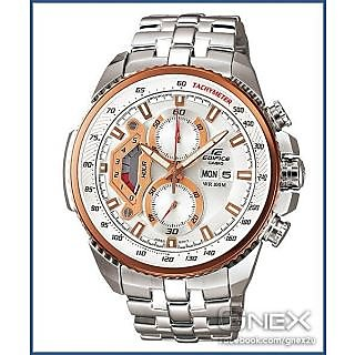 CASIO EDIFICE EF 558D 7AVD WHITE G CHRONOGRAPH MENS DAY DATE WRIST WATCH GIFT