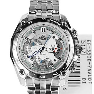 CASIO EDIFICE EF 550D 7AVDF WHITE DIAL CHRONOGRAPH STYLISH MENS WRIST WATCH GIFT
