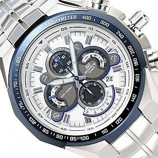 CASIO EDIFICE EF 554D 7AVD WHITE DIAL CHRONOGRAPH CLASSIC MENS WRIST WATCH GIFT