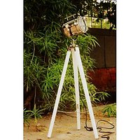 Vintage Searchlight Wooden White Tripod Focus Floor Lamp