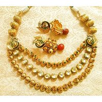 LALSO Antique Style Triple Line Kundan & Pearl Gold Plated Peacock Necklace