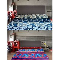 Valtellina Blue Floral&Circle Double Bed Blanket (Buy1Get1Free) (Combo-7_01_08)