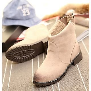Beige Ankle Length Pu Boots
