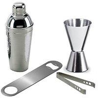 King-international -Stainless Steel Bar Set Combo - Cocktail Shaker,Peg Measure