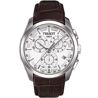 Men's Tissot Couturier Swiss Silver Dial Brown Crocodile Leather Chronograph Tec