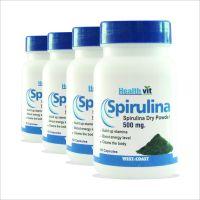 Healthvit Spirulina 500mg 60 Capsules - Pack Of 4