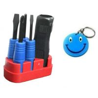 Screwdriver 5 In 1 Mini Screwdriver Tool Kit Set With Free Smiley Key Chain.
