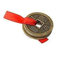 3 Lucky Coins Tied Red Ribbon Luck Wealth Feng Shui