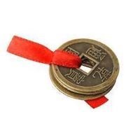 Branded 3 Lucky Coins Tied Red Ribbon Luck Wealth Feng Shui Very Useful -H