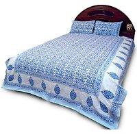 Pure Cotton Hand Block Print Double Bedsheet Set 701