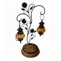 Wood Ocean Candle Stand With Two Hanging Lanterns