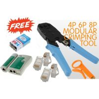 Network Crimping Tool & Lan Tester & Free 10 Connector FREE 9v Battery