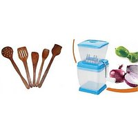 Combo Of Onoin & Vegetable Chopper  & 5 Wooden Skimmers , Limited Period  Offer
