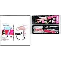 Combo Of Nova 2 In1 Hair Straightener And Nova 1000w Hair Dryer