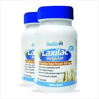 Healthvit Laxilac Regular Psyllium Husk Powder 60 Capsules Pack Of 2