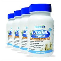 Healthvit Laxilac Regular Psyllium Husk Powder 60 Capsules Pack Of 4