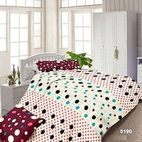 Luxe Pink And White Cotton Dotted Double Bed Sheet With 2 Pillow Covers