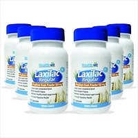 Healthvit Laxilac Regular Psyllium Husk Powder 60 Capsules Pack Of 6