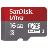 Sandisk Ultra MicroSDHC UHS-I 16GB Class 10 Memory Card With Adapter With Speed