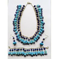 Beauty Wear's Aqua And Cobalt Blue Colour Bead Necklace,bracelet And Ear Drops
