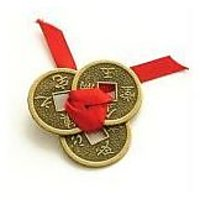 Lucky Coins Tied Red Ribbon Luck Wealth Feng Shui