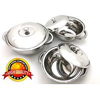 3 Pcs Stainless Steel Serving Bowl | Donga | Gift Set - 72272898