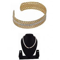 Arsya Jewellery Gold Textured Cuffs With Cultured Pearls And Meena Ball Necklace