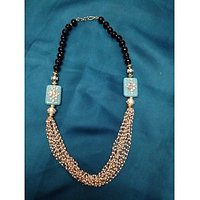Pearl Strings Necklace With Black Onyx Beads And Turquoise Stones