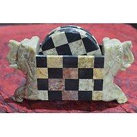 Artist Haat Hand Crafted Soapstone Elephant Shaped Coasters Set.