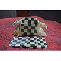 Artist Haat Hand Crafted Soapstone  Horse Shaped Coasters And Holder