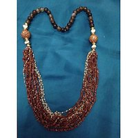 Brown Shaded Onyx Beads Necklace With Granet Stones And Small Pearls Strings
