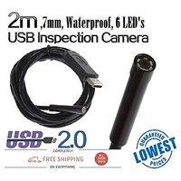 2m USB 6LED Security Waterproof Borescope Endoscope Inspection Snake Tube Camera
