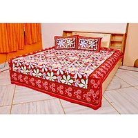 Handica Jaipuri Red And White Floral Printed Double Bed Sheet
