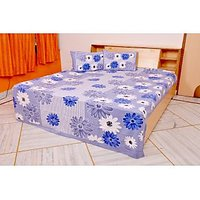Handica Sanganeri White Blue Floral Printed Double Bed Sheet