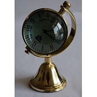 Brass Metal Vintage Table Clock In Globe Shape