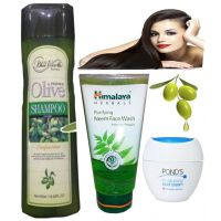 Olive Shampoo With Himalya Face Wash And Ponds Cold Cream..................